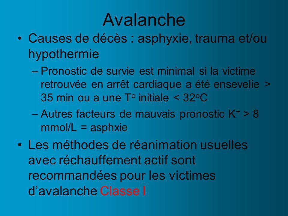 Avalanche Causes de décès : asphyxie, trauma et/ou hypothermie –Pronostic de survie est minimal si la victime retrouvée en arrêt cardiaque a été ensev