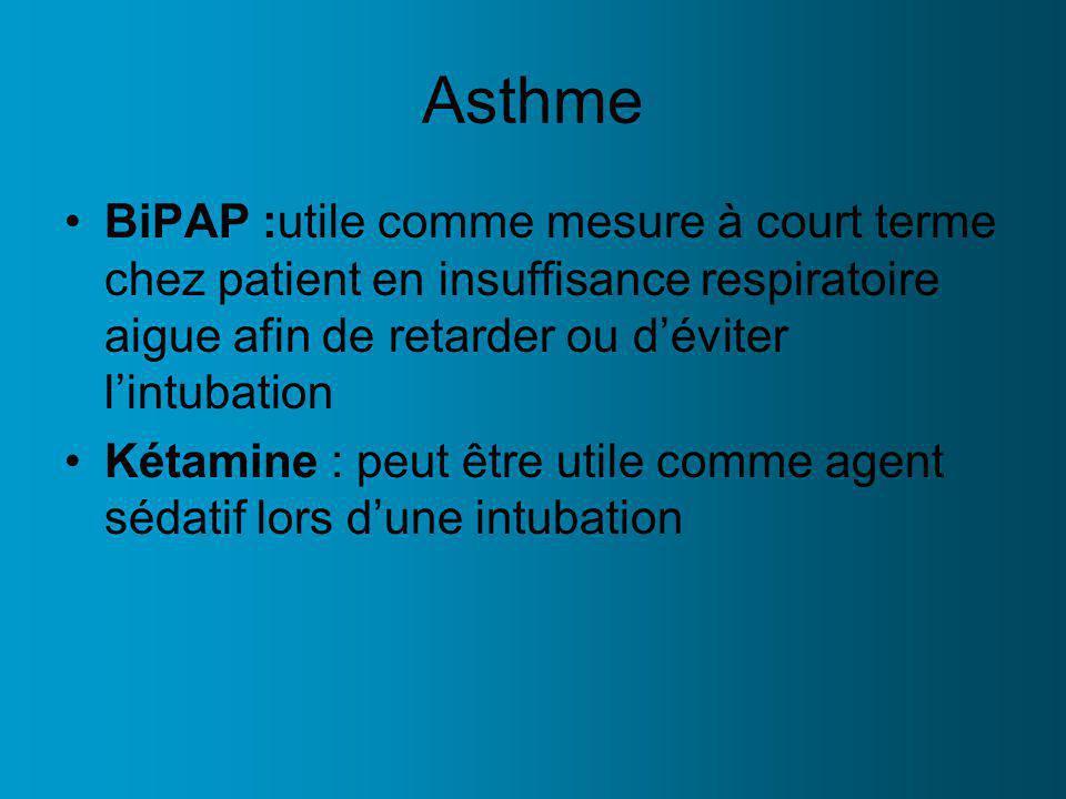 Asthme BiPAP :utile comme mesure à court terme chez patient en insuffisance respiratoire aigue afin de retarder ou déviter lintubation Kétamine : peut être utile comme agent sédatif lors dune intubation