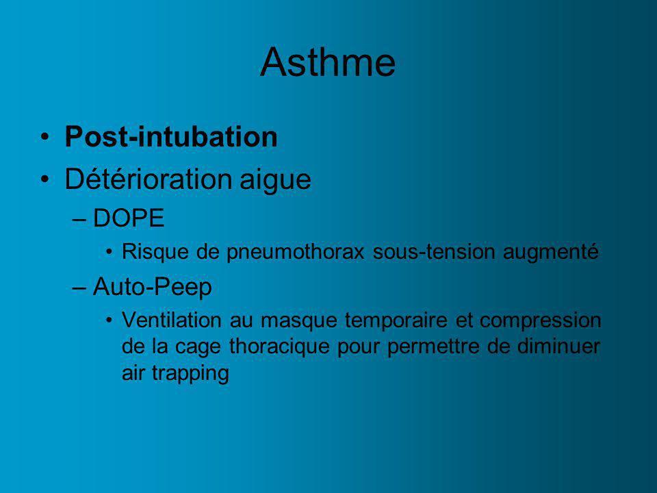 Asthme Post-intubation Détérioration aigue –DOPE Risque de pneumothorax sous-tension augmenté –Auto-Peep Ventilation au masque temporaire et compression de la cage thoracique pour permettre de diminuer air trapping
