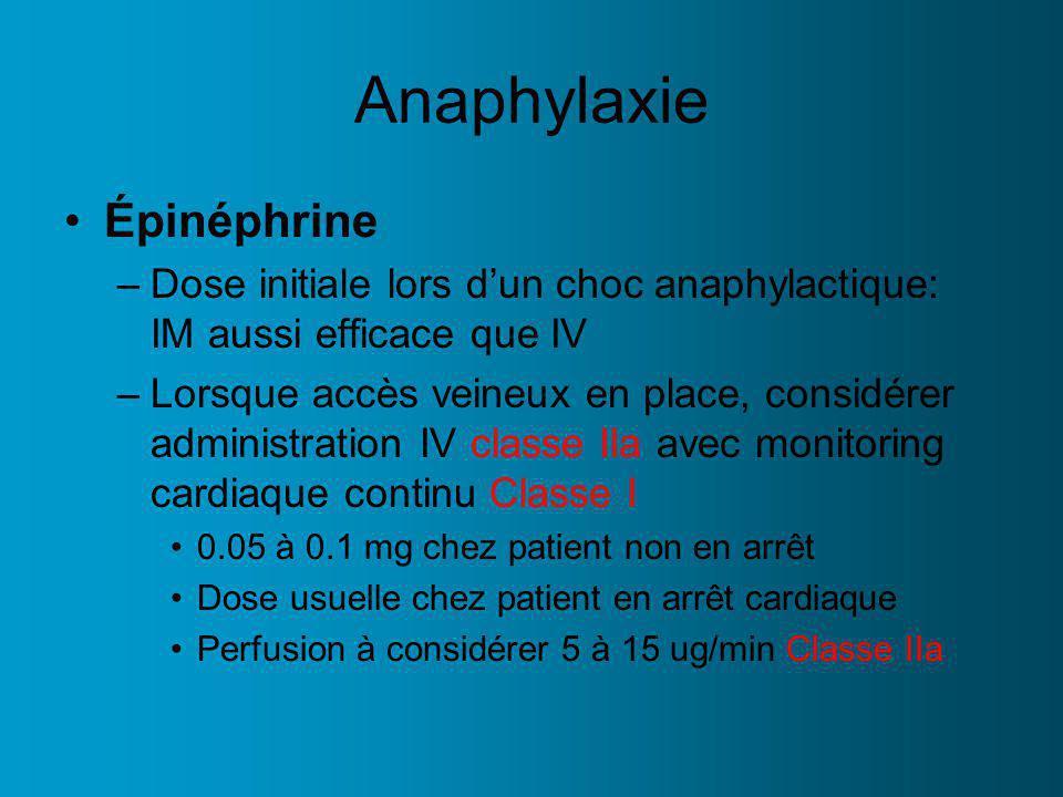 Anaphylaxie Épinéphrine –Dose initiale lors dun choc anaphylactique: IM aussi efficace que IV –Lorsque accès veineux en place, considérer administration IV classe IIa avec monitoring cardiaque continu Classe I 0.05 à 0.1 mg chez patient non en arrêt Dose usuelle chez patient en arrêt cardiaque Perfusion à considérer 5 à 15 ug/min Classe IIa