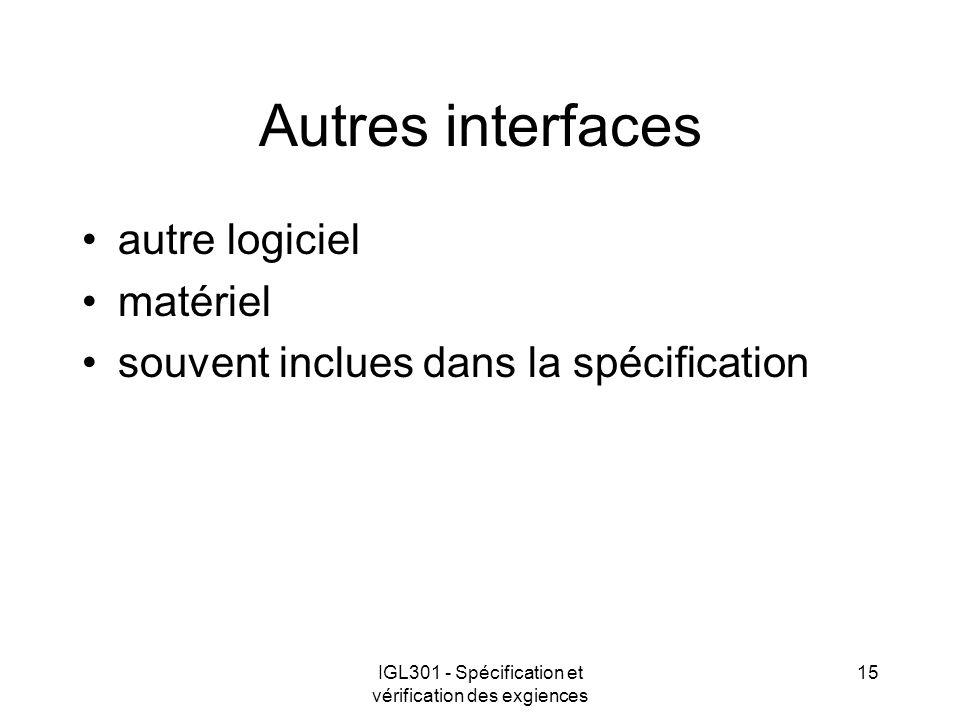 IGL301 - Spécification et vérification des exgiences 15 Autres interfaces autre logiciel matériel souvent inclues dans la spécification