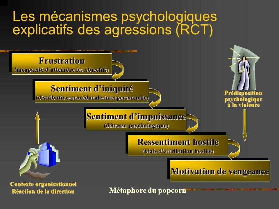 Les mécanismes psychologiques explicatifs des agressions (RCT) Frustration (incapacité datteindre les objectifs) Frustration Sentiment diniquité (dist