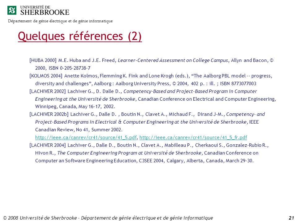 Département de génie électrique et de génie informatique © 2008 Université de Sherbrooke - Département de génie électrique et de génie informatique21 Quelques références (2) [HUBA 2000] M.E.