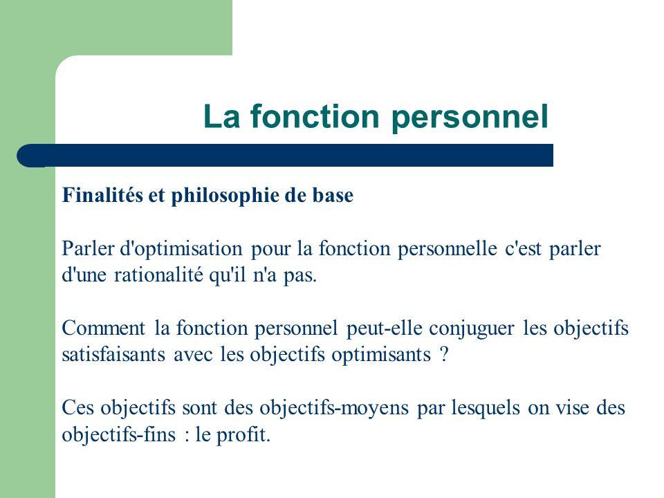 La fonction personnel Finalités et philosophie de base Parler d'optimisation pour la fonction personnelle c'est parler d'une rationalité qu'il n'a pas