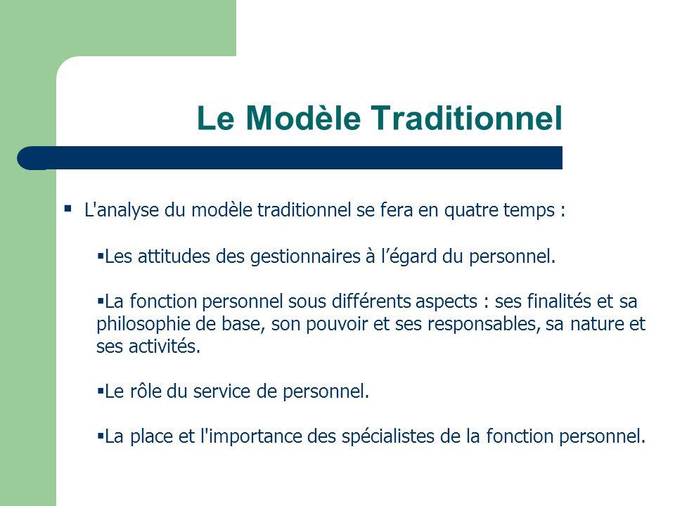 Le Modèle Traditionnel L'analyse du modèle traditionnel se fera en quatre temps : Les attitudes des gestionnaires à légard du personnel. La fonction p