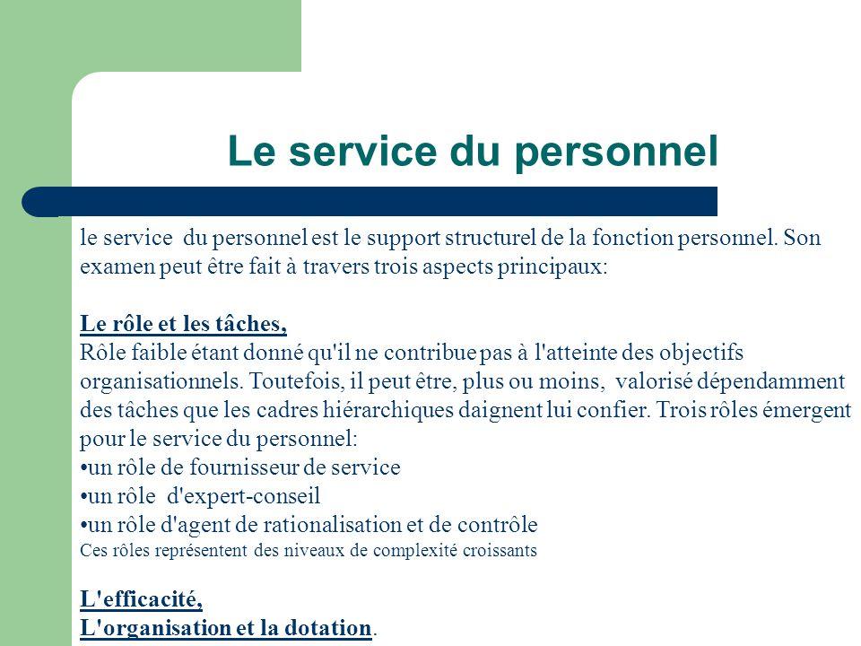 Le service du personnel le service du personnel est le support structurel de la fonction personnel. Son examen peut être fait à travers trois aspects