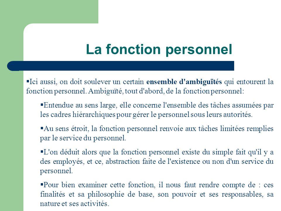 La fonction personnel Finalités et philosophie de base Pouvoir et Responsables Nature de la Gestion Activités de la fonction personnel