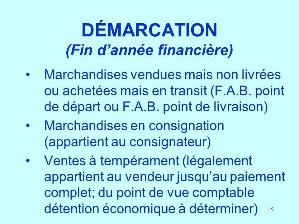 15 DÉMARCATION (Fin dannée financière) Marchandises vendues mais non livrées ou achetées mais en transit (F.A.B. point de départ ou F.A.B. point de li