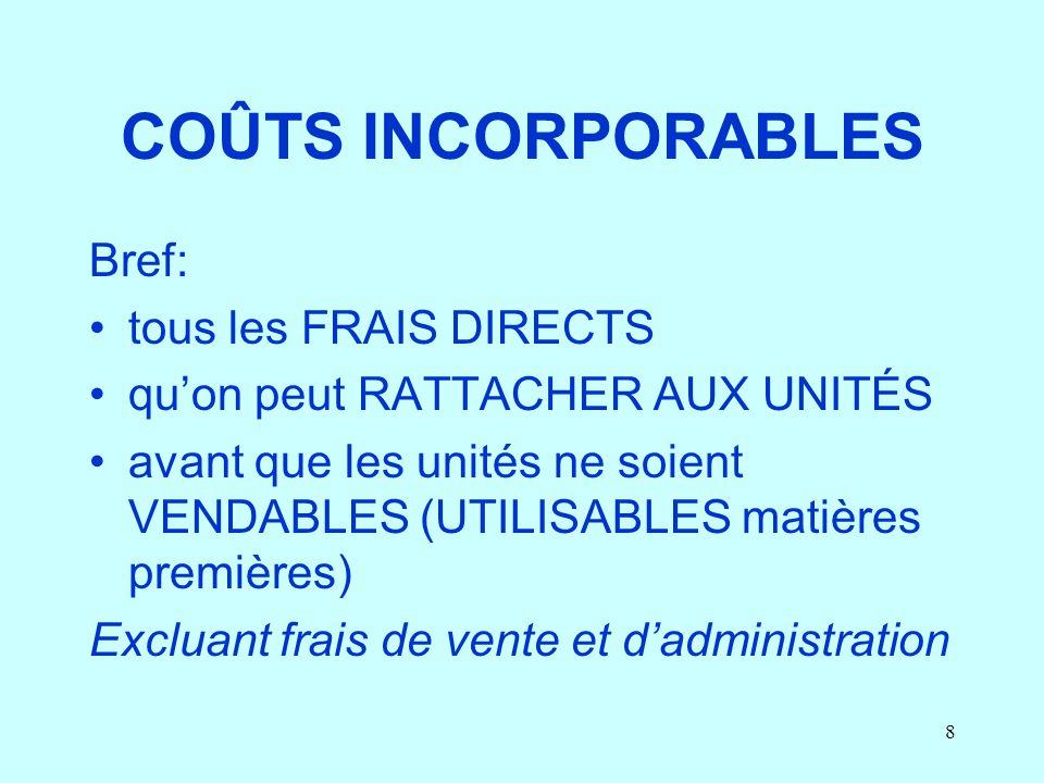 8 COÛTS INCORPORABLES Bref: tous les FRAIS DIRECTS quon peut RATTACHER AUX UNITÉS avant que les unités ne soient VENDABLES (UTILISABLES matières premi