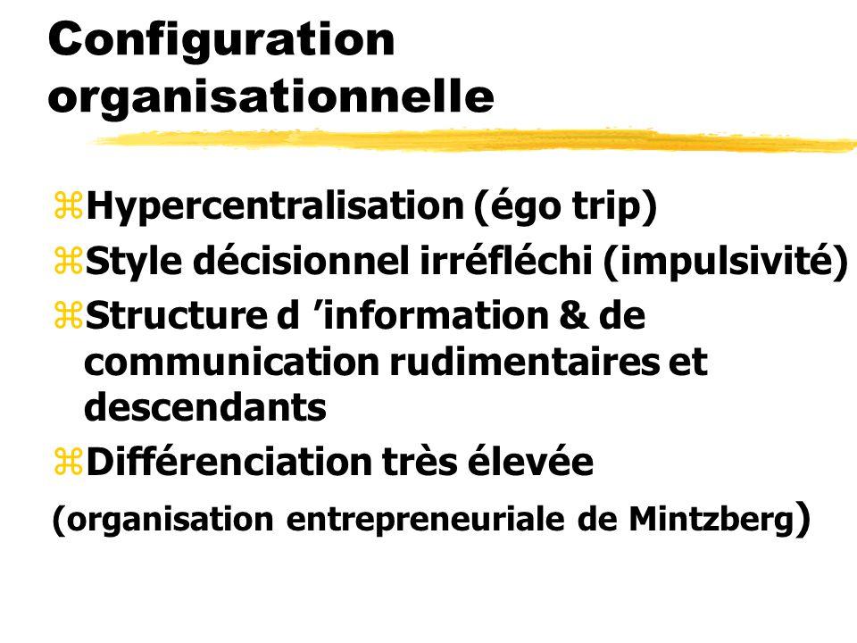 Configuration organisationnelle zHypercentralisation (égo trip) zStyle décisionnel irréfléchi (impulsivité) zStructure d information & de communicatio
