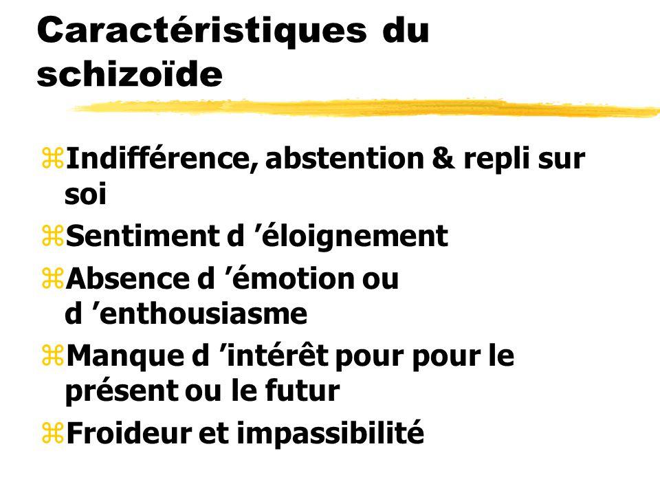 Caractéristiques du schizoïde zIndifférence, abstention & repli sur soi zSentiment d éloignement zAbsence d émotion ou d enthousiasme zManque d intérê