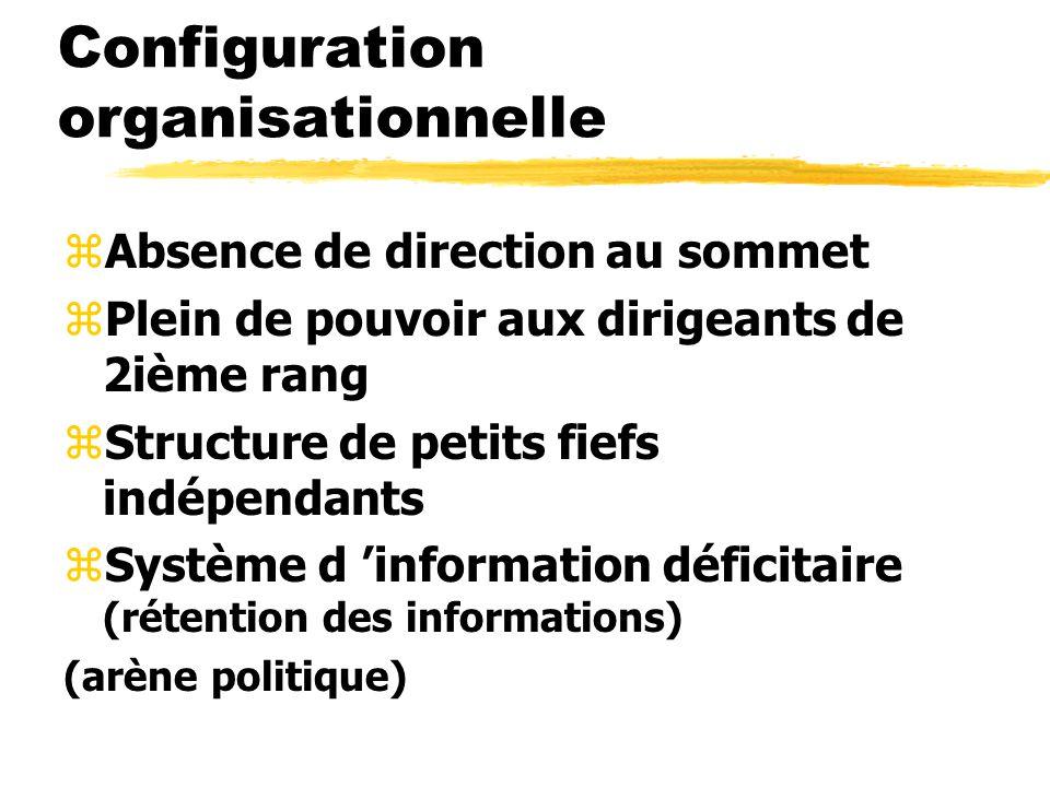 Configuration organisationnelle zAbsence de direction au sommet zPlein de pouvoir aux dirigeants de 2ième rang zStructure de petits fiefs indépendants