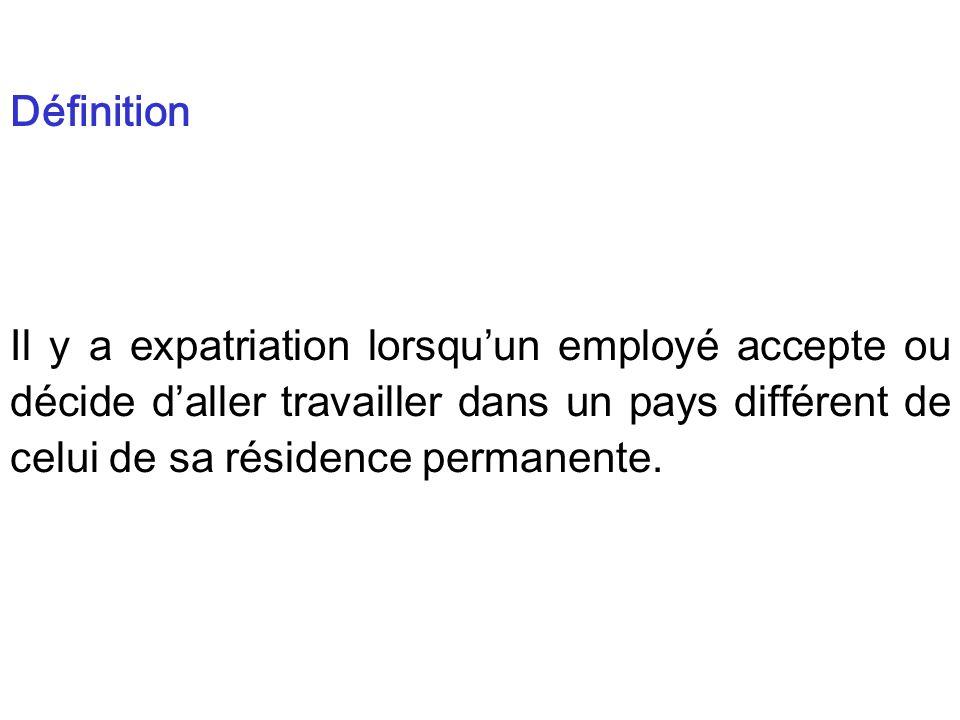 Il y a expatriation lorsquun employé accepte ou décide daller travailler dans un pays différent de celui de sa résidence permanente.