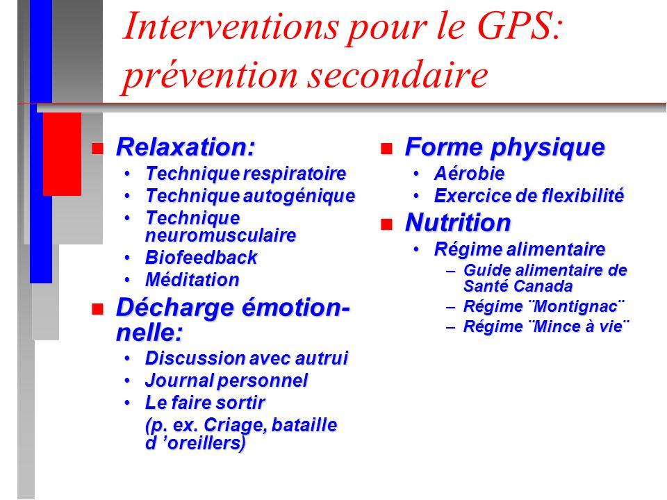 Interventions pour le GPS: prévention secondaire n Relaxation: Technique respiratoireTechnique respiratoire Technique autogéniqueTechnique autogénique
