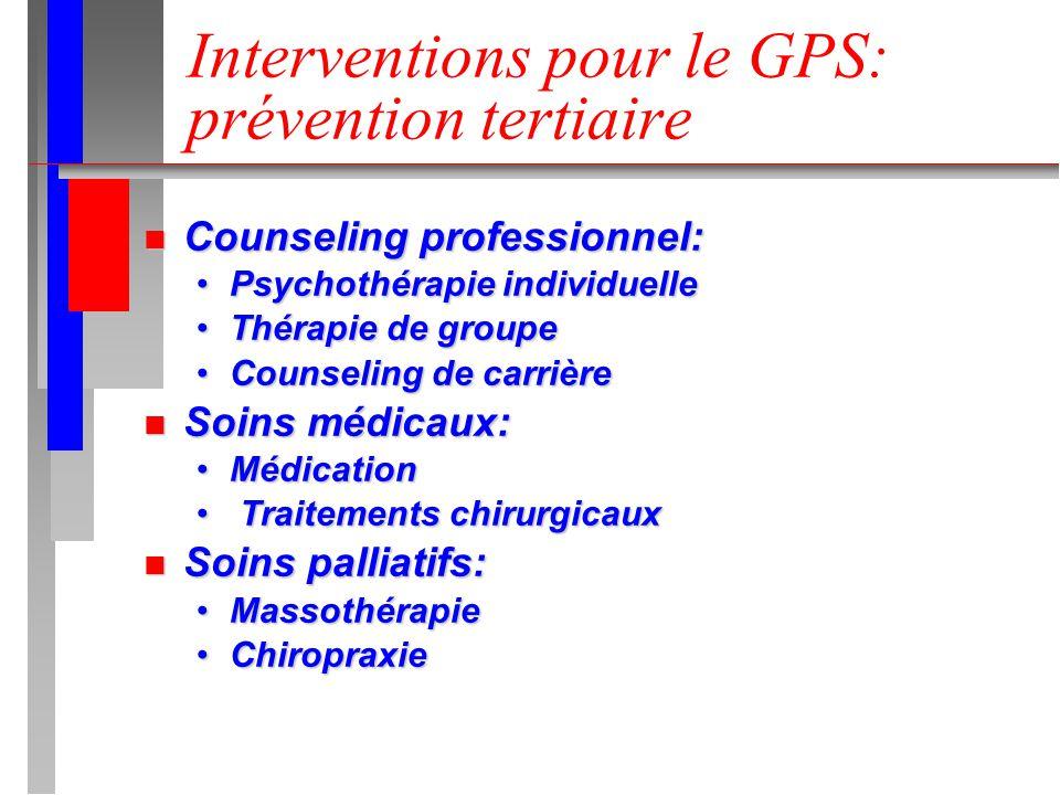Interventions pour le GPS: prévention tertiaire n Counseling professionnel: Psychothérapie individuellePsychothérapie individuelle Thérapie de groupeT