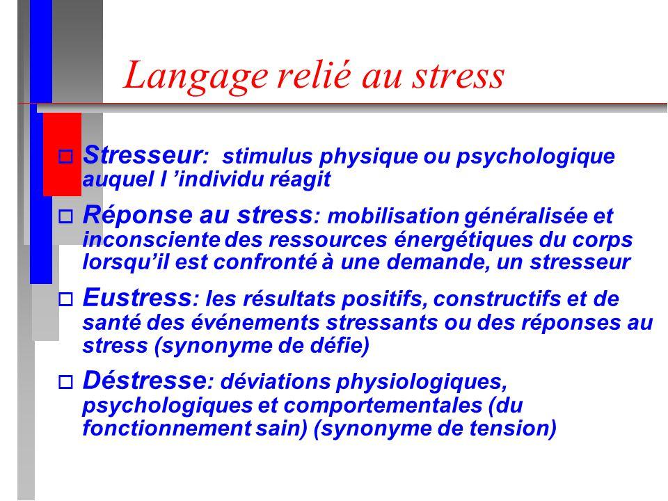 Langage relié au stress o Stresseur : stimulus physique ou psychologique auquel l individu réagit o Réponse au stress : mobilisation généralisée et in