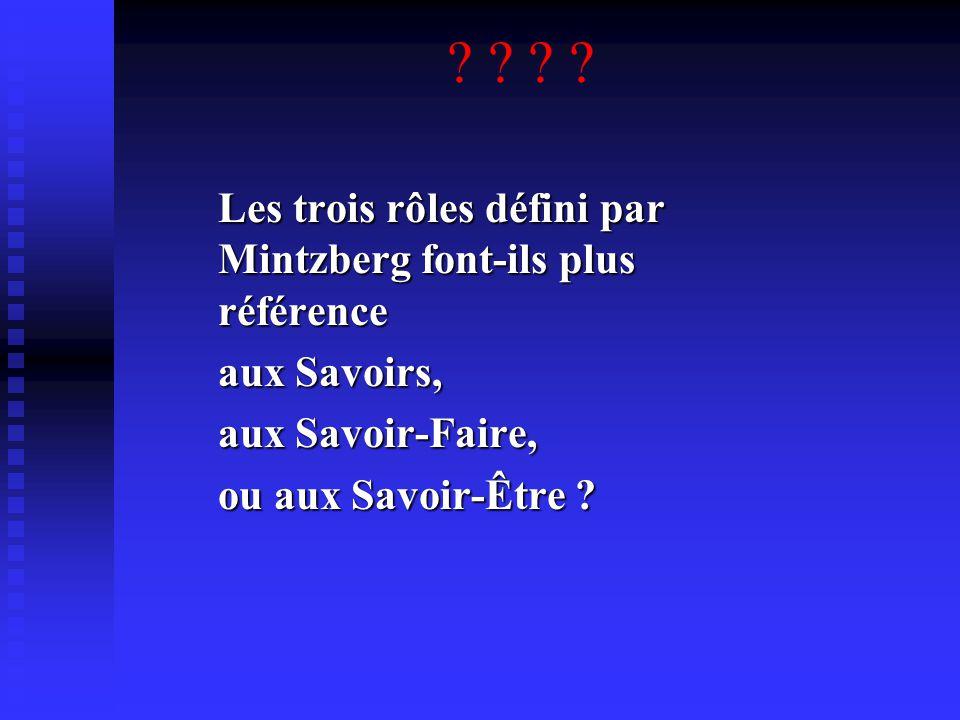 Les trois rôles défini par Mintzberg font-ils plus référence aux Savoirs, aux Savoir-Faire, ou aux Savoir-Être