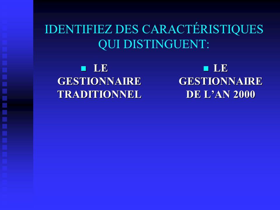 IDENTIFIEZ DES CARACTÉRISTIQUES QUI DISTINGUENT: LE GESTIONNAIRE TRADITIONNEL LE GESTIONNAIRE TRADITIONNEL LE GESTIONNAIRE DE LAN 2000
