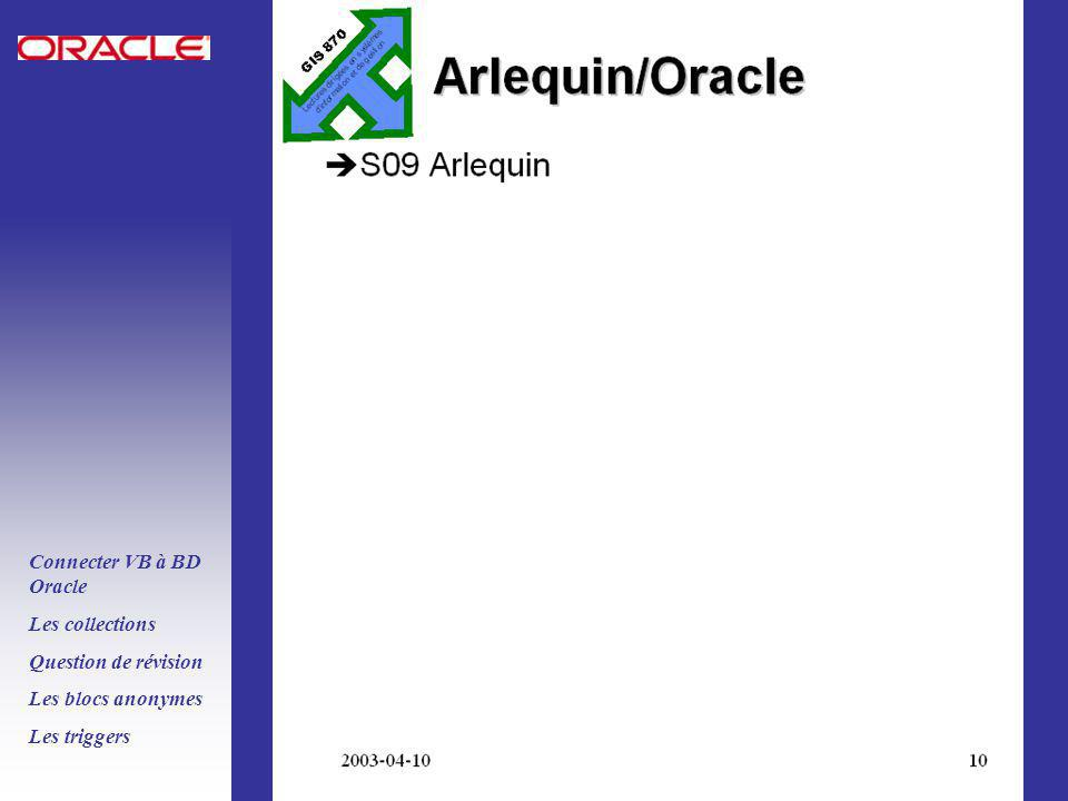PLSQL ORACLE 8i Connecter VB à BD Oracle Les collections Question de révision Les blocs anonymes Les triggers