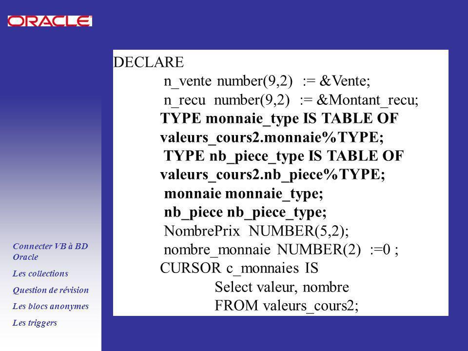PLSQL ORACLE 8i Connecter VB à BD Oracle Les collections Question de révision Les blocs anonymes Les triggers DECLARE n_vente number(9,2) := &Vente; n_recu number(9,2) := &Montant_recu; TYPE monnaie_type IS TABLE OF valeurs_cours2.monnaie%TYPE; TYPE nb_piece_type IS TABLE OF valeurs_cours2.nb_piece%TYPE; monnaie monnaie_type; nb_piece nb_piece_type; NombrePrix NUMBER(5,2); nombre_monnaie NUMBER(2) :=0 ; CURSOR c_monnaies IS Select valeur, nombre FROM valeurs_cours2;