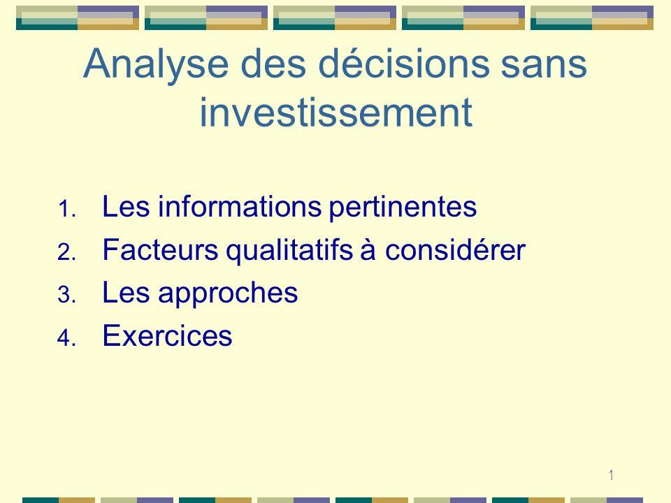 1 Analyse des décisions sans investissement 1. Les informations pertinentes 2.