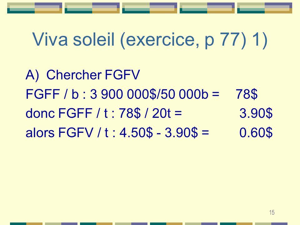 15 Viva soleil (exercice, p 77) 1) A) Chercher FGFV FGFF / b : 3 900 000$/50 000b =78$ donc FGFF / t : 78$ / 20t = 3.90$ alors FGFV / t : 4.50$ - 3.90$ = 0.60$