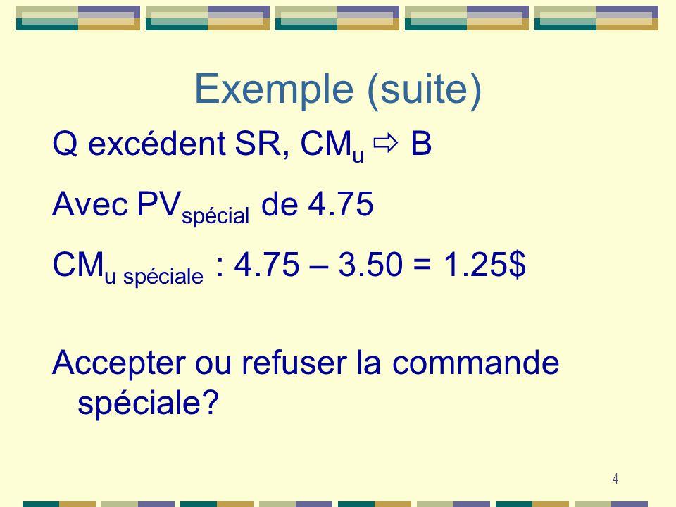 4 Q excédent SR, CM u B Avec PV spécial de 4.75 CM u spéciale : 4.75 – 3.50 = 1.25$ Accepter ou refuser la commande spéciale.