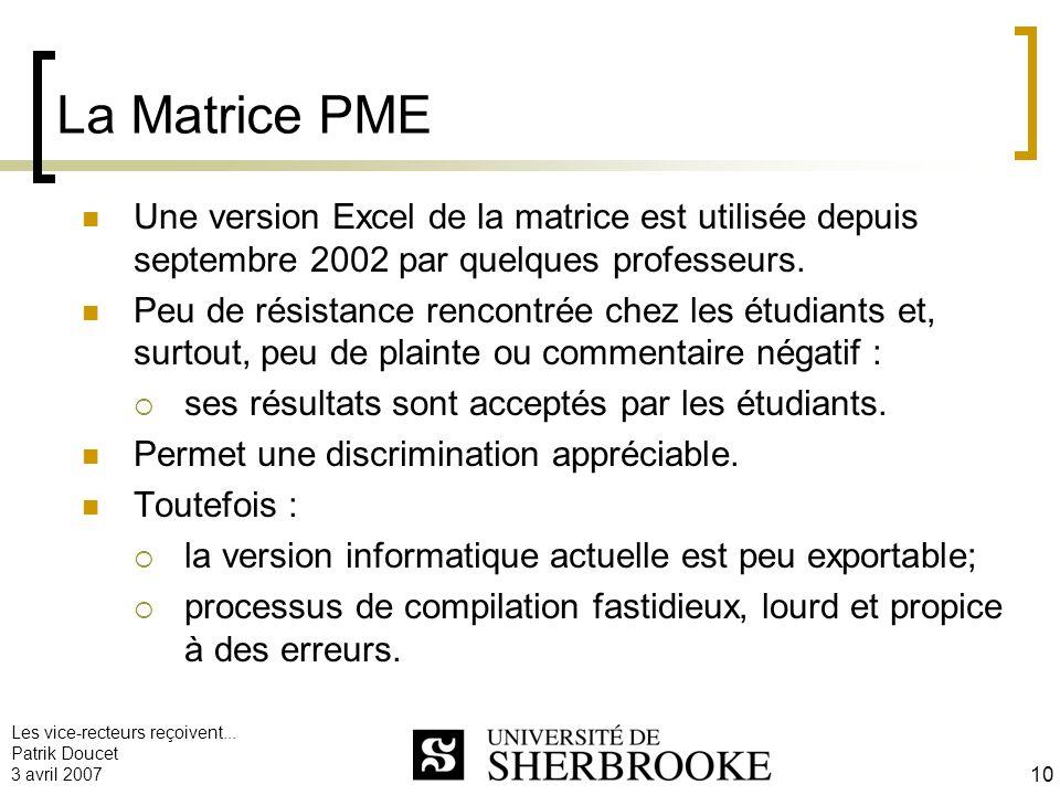 Les vice-recteurs reçoivent... Patrik Doucet 3 avril 2007 10 La Matrice PME Une version Excel de la matrice est utilisée depuis septembre 2002 par que