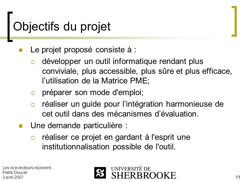 Les vice-recteurs reçoivent... Patrik Doucet 3 avril 2007 11 Objectifs du projet Le projet proposé consiste à : développer un outil informatique renda
