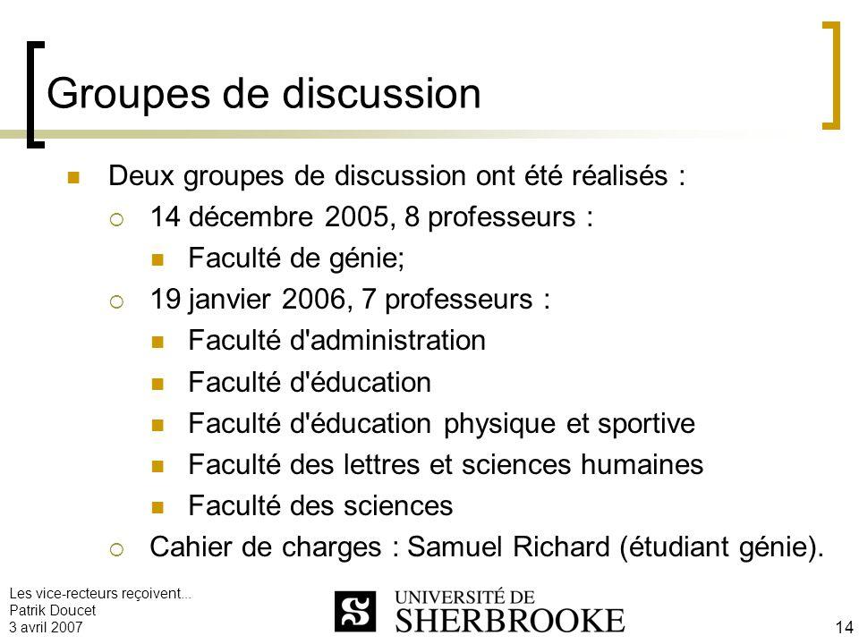 Les vice-recteurs reçoivent... Patrik Doucet 3 avril 2007 14 Groupes de discussion Deux groupes de discussion ont été réalisés : 14 décembre 2005, 8 p