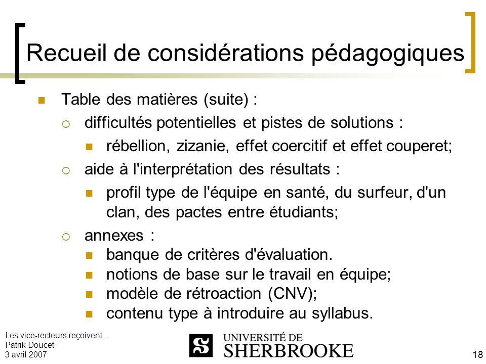 Les vice-recteurs reçoivent... Patrik Doucet 3 avril 2007 18 Recueil de considérations pédagogiques Table des matières (suite) : difficultés potentiel