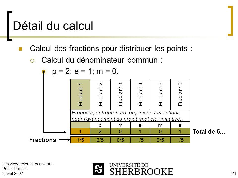 Les vice-recteurs reçoivent... Patrik Doucet 3 avril 2007 21 Détail du calcul Calcul des fractions pour distribuer les points : Calcul du dénominateur