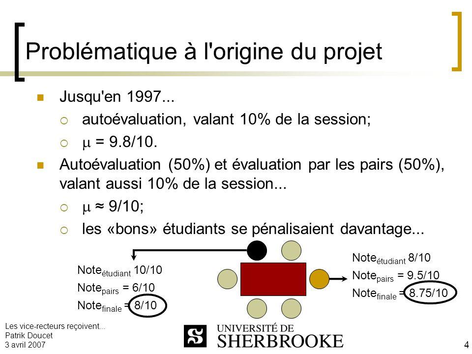 Les vice-recteurs reçoivent... Patrik Doucet 3 avril 2007 4 Problématique à l'origine du projet Jusqu'en 1997... autoévaluation, valant 10% de la sess