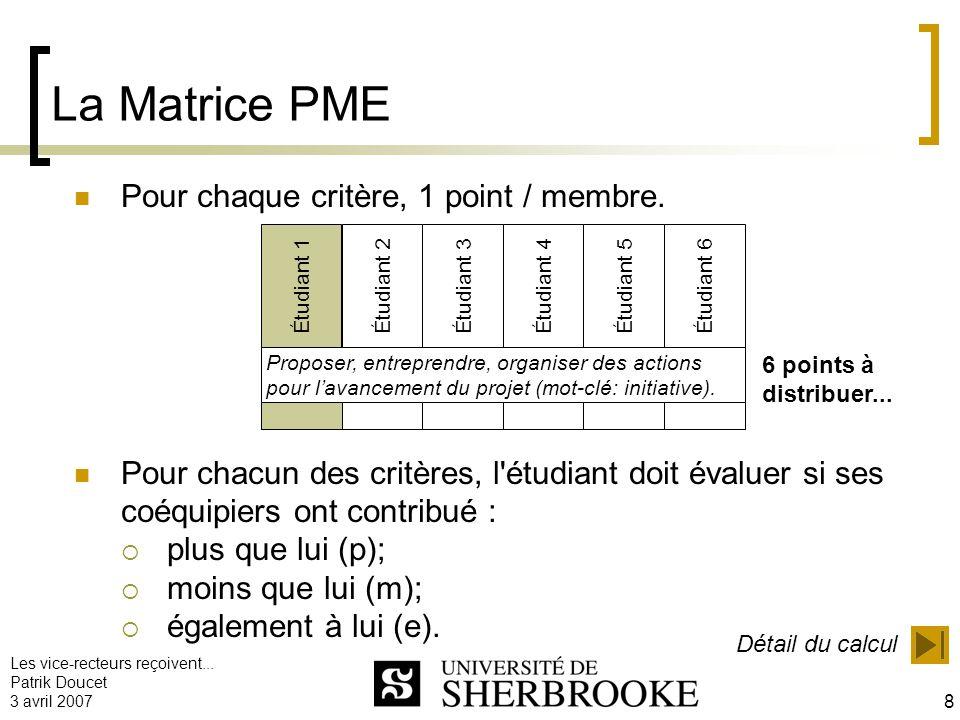 Les vice-recteurs reçoivent... Patrik Doucet 3 avril 2007 8 La Matrice PME Pour chaque critère, 1 point / membre. Pour chacun des critères, l'étudiant
