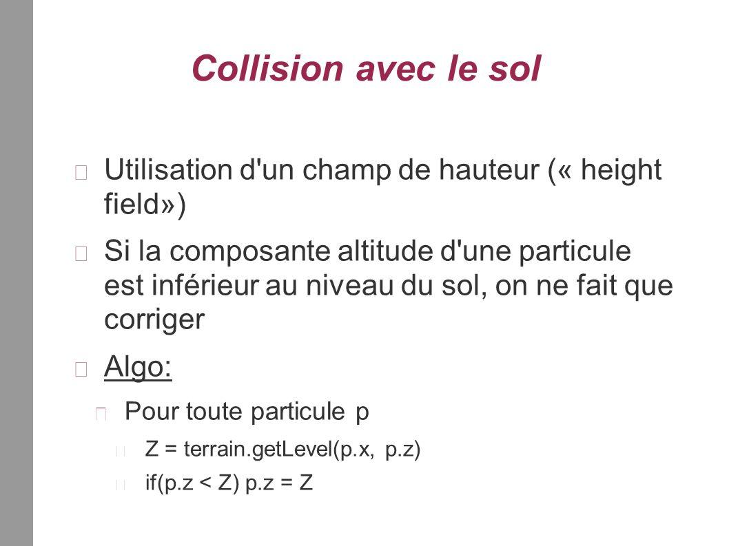 Collision avec le sol Utilisation d un champ de hauteur (« height field») Si la composante altitude d une particule est inférieur au niveau du sol, on ne fait que corriger Algo: Pour toute particule p Z = terrain.getLevel(p.x, p.z) if(p.z < Z) p.z = Z
