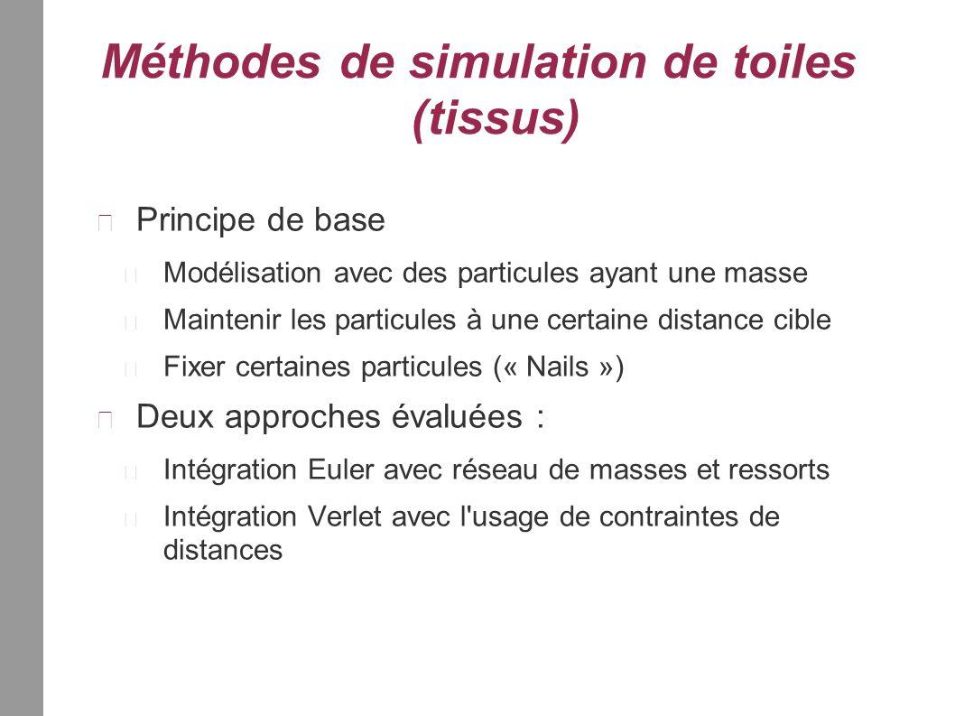 Méthodes de simulation de toiles (tissus) Principe de base Modélisation avec des particules ayant une masse Maintenir les particules à une certaine distance cible Fixer certaines particules (« Nails ») Deux approches évaluées : Intégration Euler avec réseau de masses et ressorts Intégration Verlet avec l usage de contraintes de distances