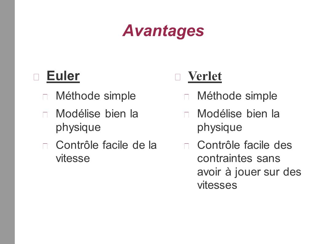 Avantages Euler Méthode simple Modélise bien la physique Contrôle facile de la vitesse Verlet Méthode simple Modélise bien la physique Contrôle facile des contraintes sans avoir à jouer sur des vitesses