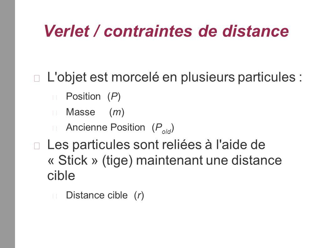 Verlet / contraintes de distance L objet est morcelé en plusieurs particules : Position (P) Masse (m) Ancienne Position (P old ) Les particules sont reliées à l aide de « Stick » (tige) maintenant une distance cible Distance cible (r)