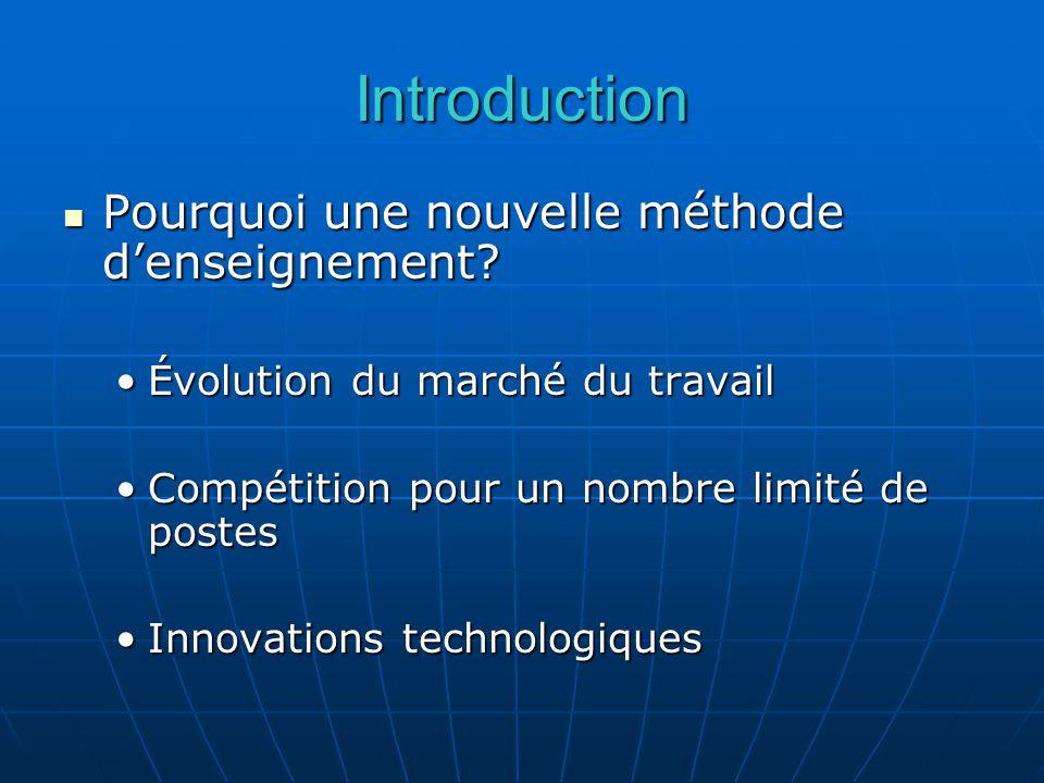 Introduction Pourquoi une nouvelle méthode denseignement.