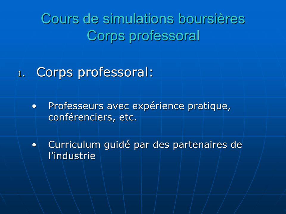 Cours de simulations boursières Corps professoral 1.