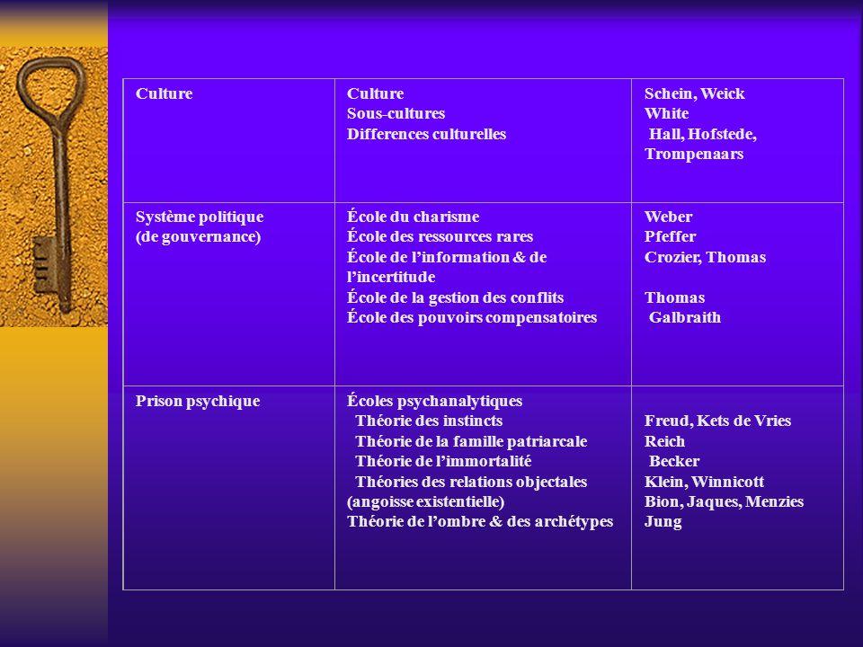 Culture Sous-cultures Differences culturelles Schein, Weick White Hall, Hofstede, Trompenaars Système politique (de gouvernance) École du charisme Éco