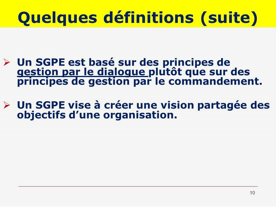 Quelques définitions (suite) Un SGPE est basé sur des principes de gestion par le dialogue plutôt que sur des principes de gestion par le commandement