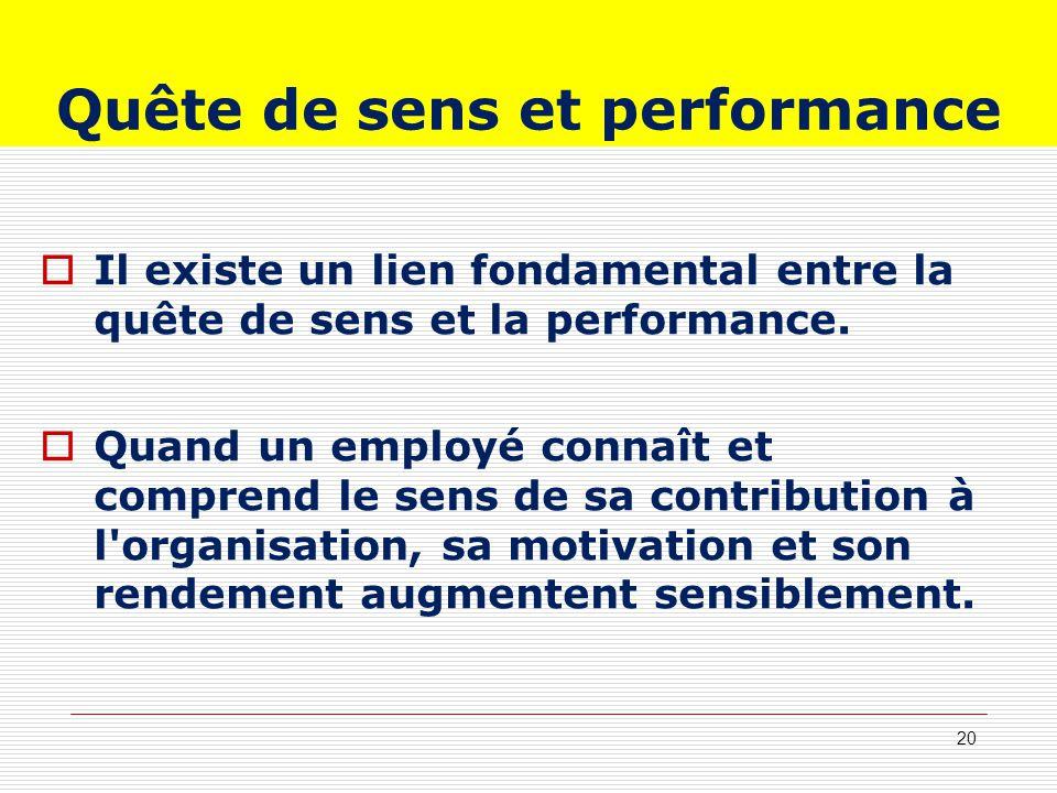 Quête de sens et performance Il existe un lien fondamental entre la quête de sens et la performance. Quand un employé connaît et comprend le sens de s