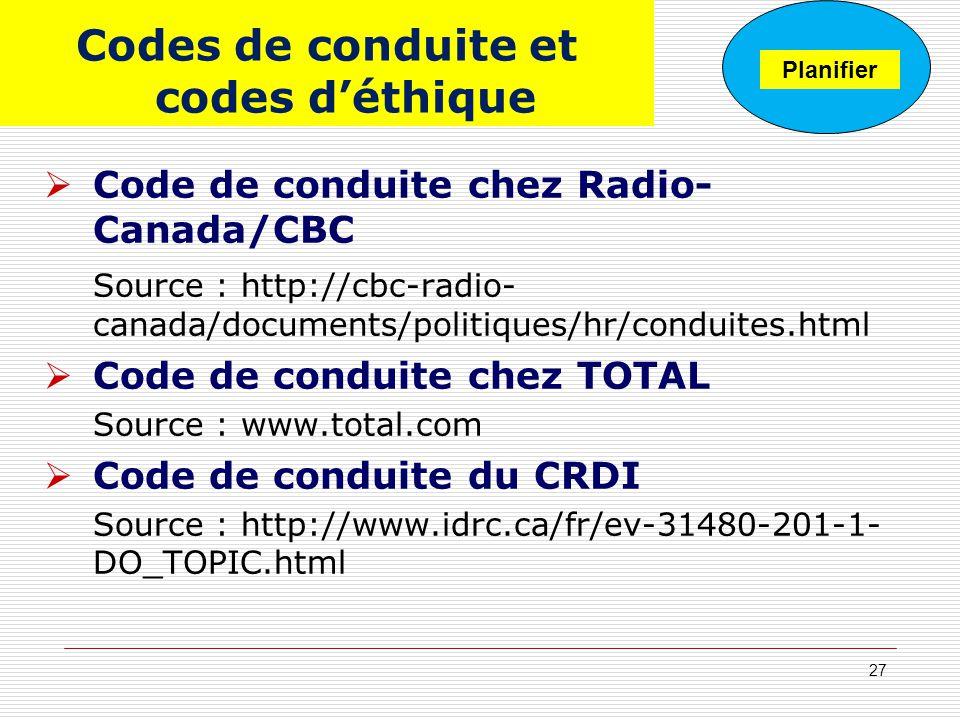 Codes de conduite et codes déthique Code de conduite chez Radio- Canada/CBC Source : http://cbc-radio- canada/documents/politiques/hr/conduites.html C