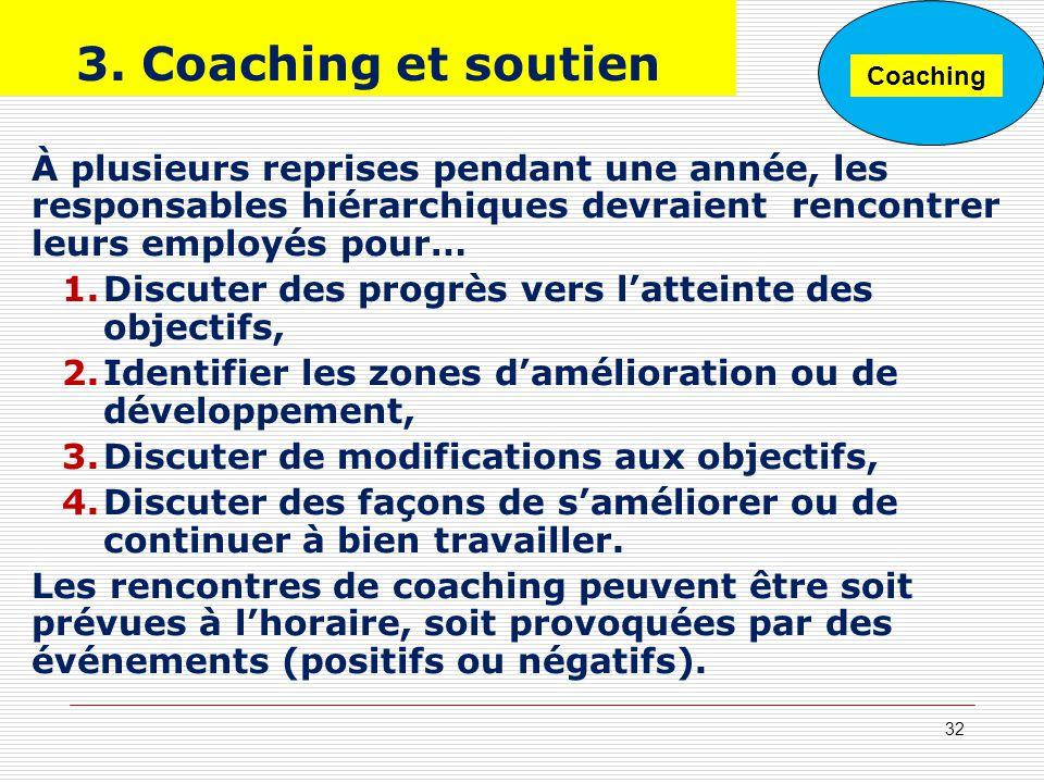 3. Coaching et soutien À plusieurs reprises pendant une année, les responsables hiérarchiques devraient rencontrer leurs employés pour… 1.Discuter des