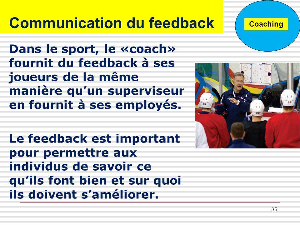 Dans le sport, le «coach» fournit du feedback à ses joueurs de la même manière quun superviseur en fournit à ses employés. Le feedback est important p