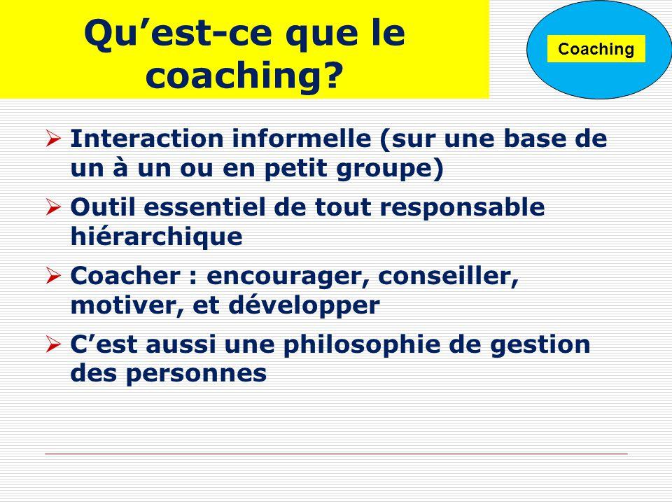 Quest-ce que le coaching? Interaction informelle (sur une base de un à un ou en petit groupe) Outil essentiel de tout responsable hiérarchique Coacher