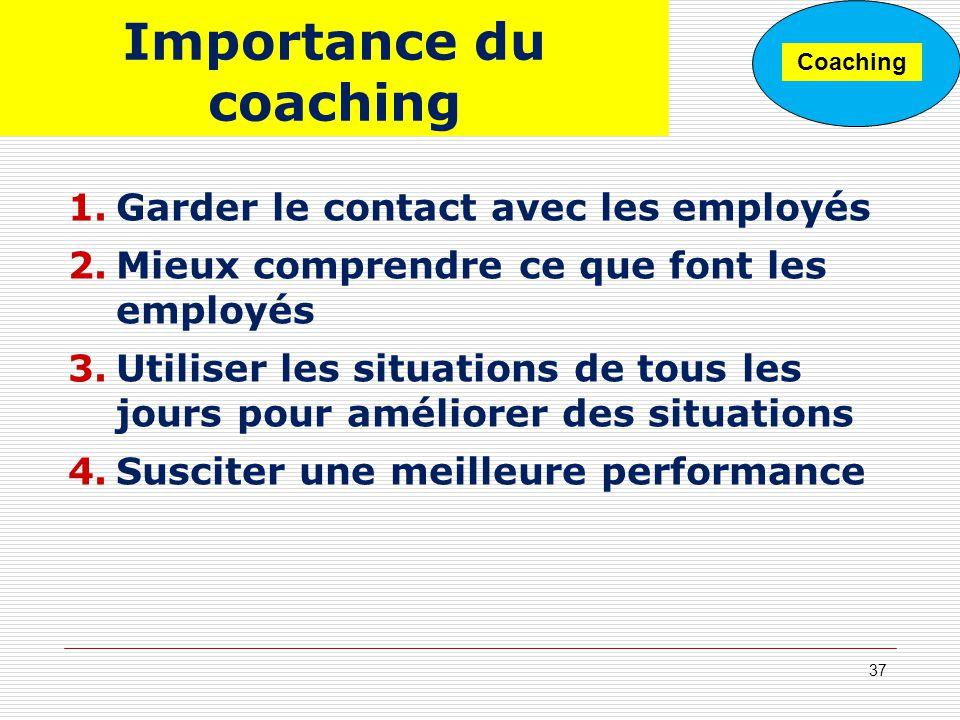 Importance du coaching 1.Garder le contact avec les employés 2.Mieux comprendre ce que font les employés 3.Utiliser les situations de tous les jours p