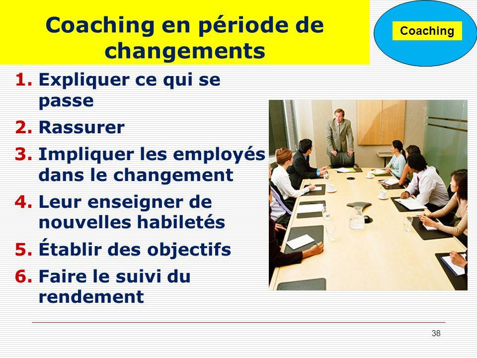 Coaching en période de changements 1.Expliquer ce qui se passe 2.Rassurer 3.Impliquer les employés dans le changement 4.Leur enseigner de nouvelles ha