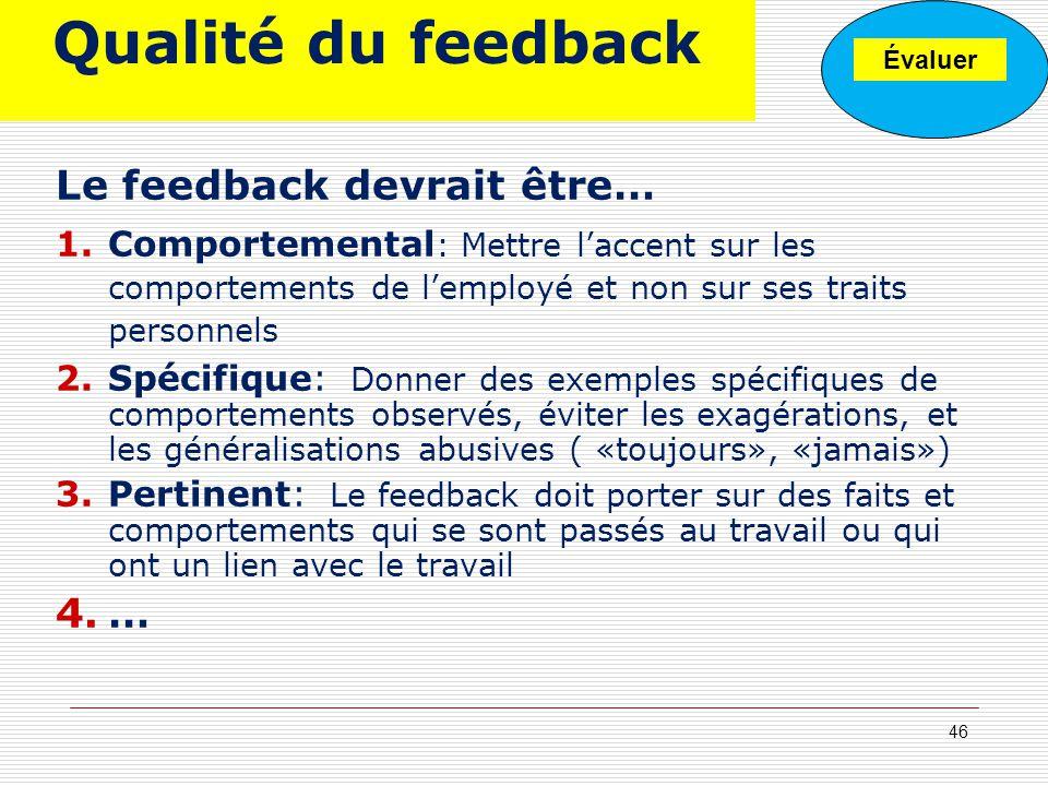 Qualité du feedback Le feedback devrait être… 1.Comportemental : Mettre laccent sur les comportements de lemployé et non sur ses traits personnels 2.S